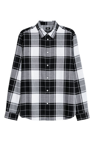 Camicia flanella Regular fit - Nero/bianco -  | H&M IT