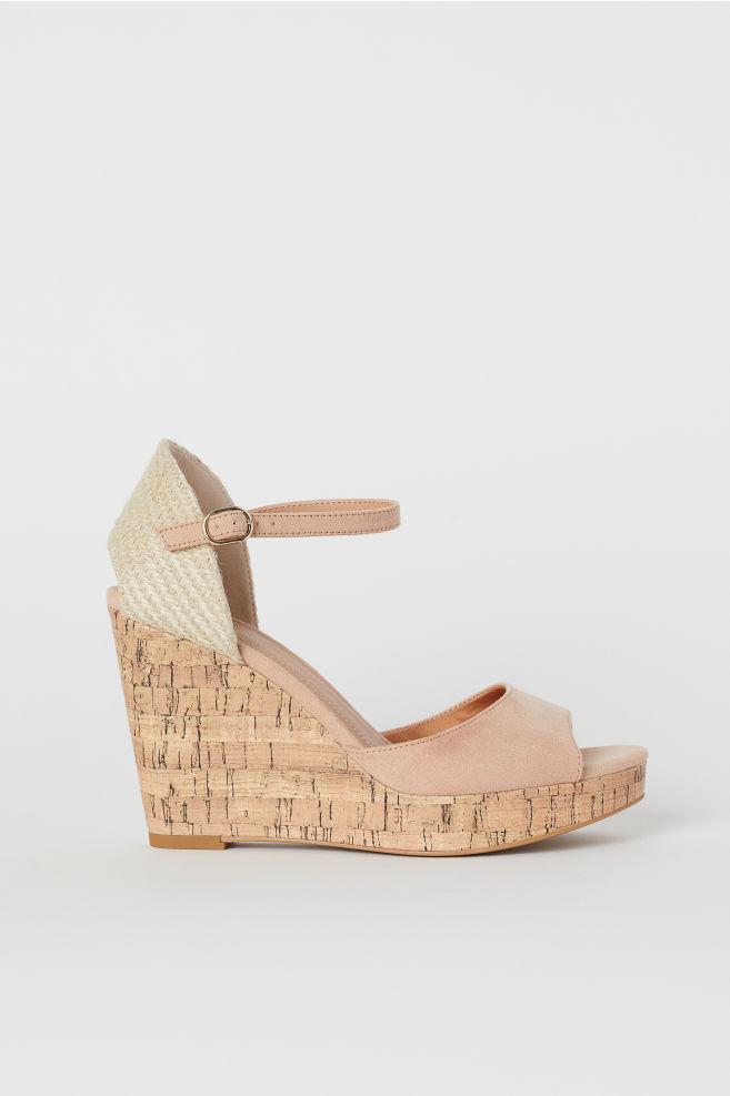 0cf8027b4a5 Wedge-heeled Sandals - Powder beige - Ladies