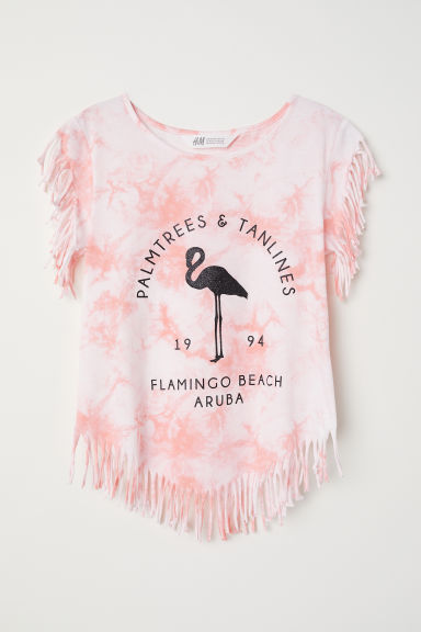 Top with fringing - Light pink/Patterned - Kids | H&M