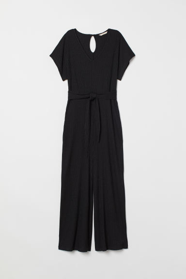 V-neck jumpsuit - Black -  | H&M