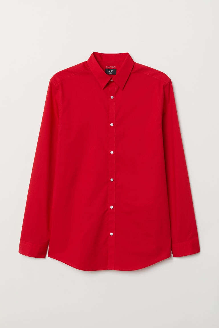 Easy-iron shirt Slim fit - Red - Men | H&M CN