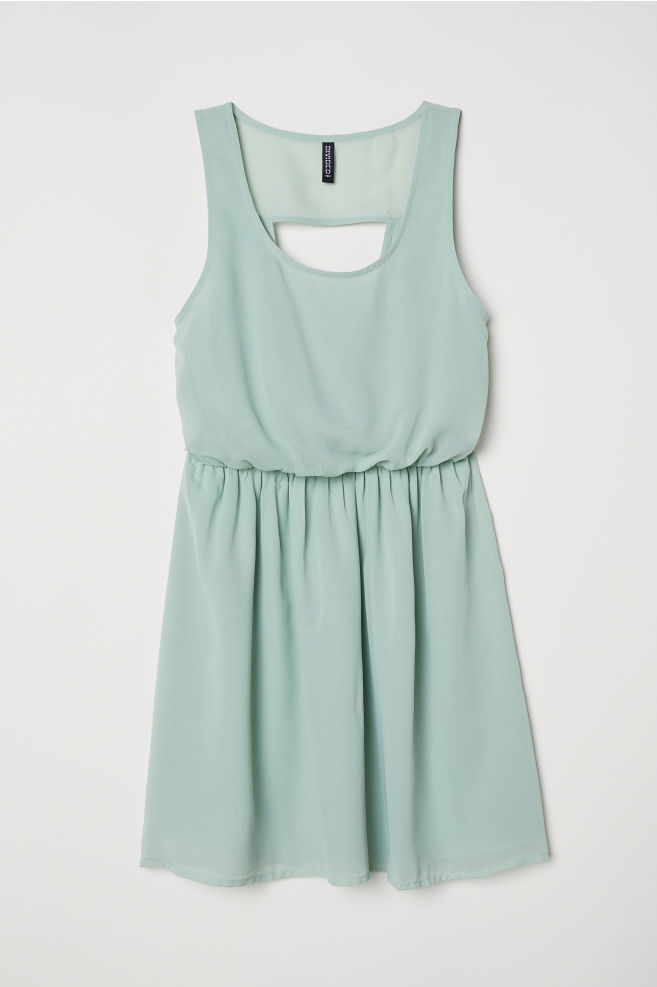 Short Chiffon Dress Light Green Las H M