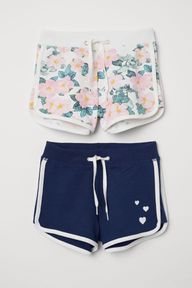 2-pack sweatshirt shorts - Dark blue/Floral - Kids | H&M CN
