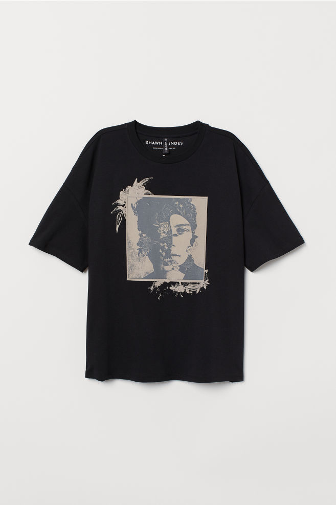 961418201 ... T-shirt with Printed Design - Black/Shawn Mendes - | H&M ...