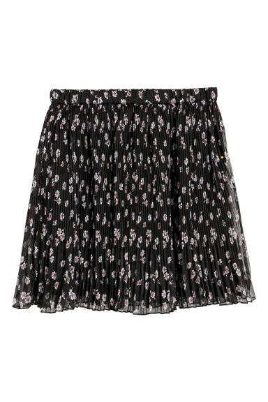 Pleated skirt - Black/Floral -  | H&M IE