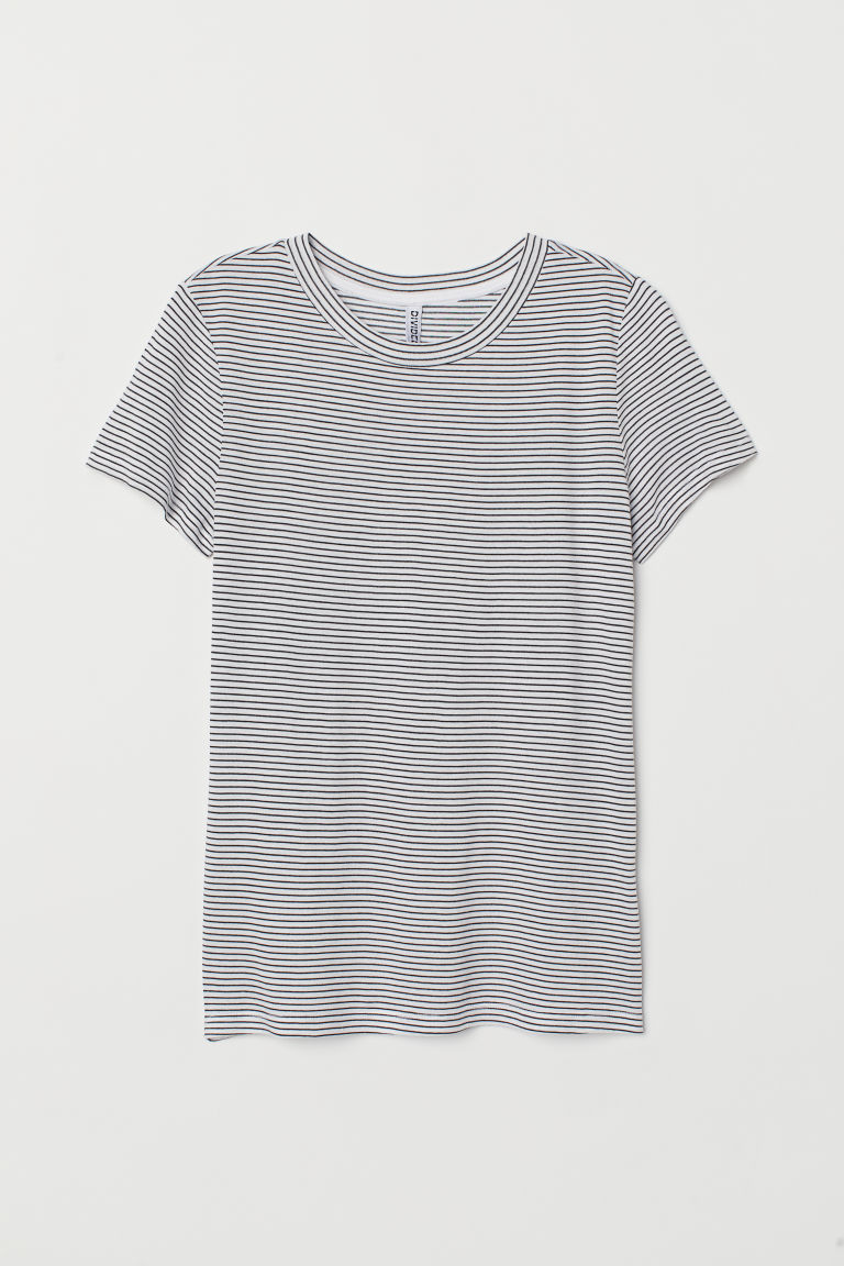 T-shirt in jersey - Bianco/nero righe -  | H&M CH