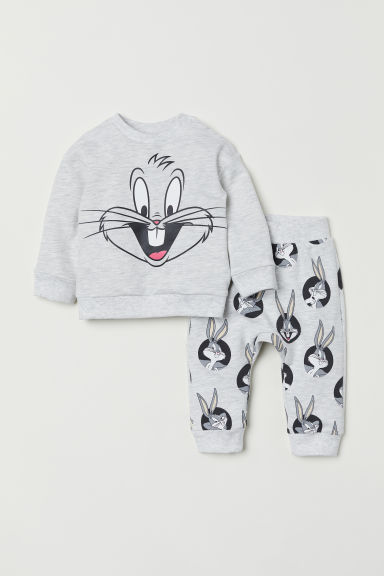 Sweatshirt and joggers - Light grey marl/Looney Tunes - Kids | H&M