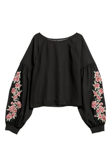 Blouse with embroidery - Black/Flowers -  | H&M CN
