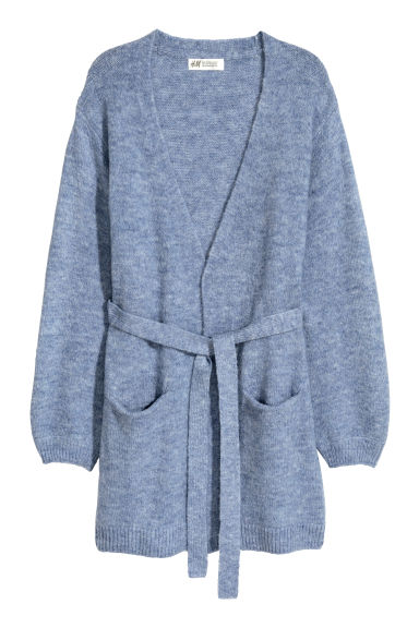 Cardigan with a tie belt - Light blue marl -  | H&M