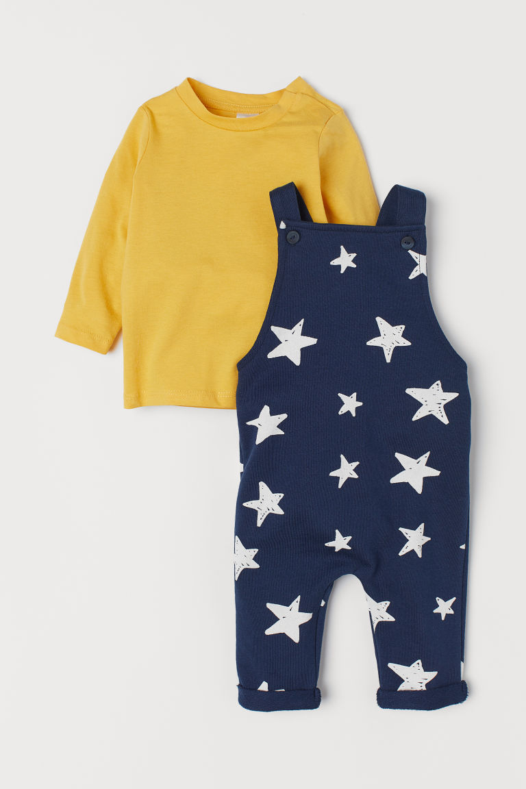 Top and dungarees - Dark blue/Stars - Kids | H&M