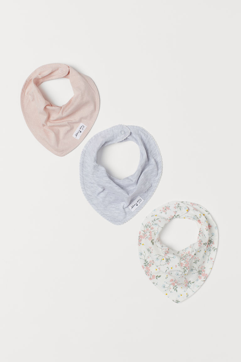 3-pack triangular scarves - Light pink/Spotted - Kids | H&M