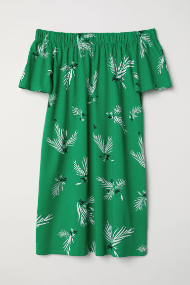 Off-the-shoulder cotton dress - Green/Patterned - Ladies | H&M CN