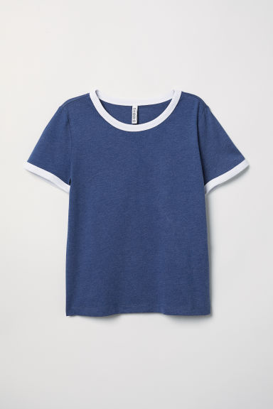 Short T-shirt - Dark blue - Ladies | H&M
