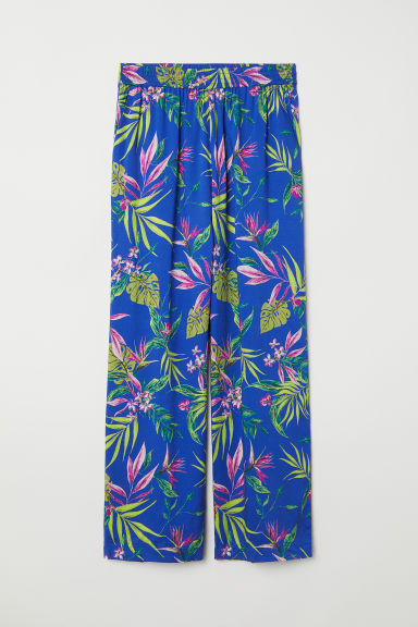 Wide trousers - Bright blue/Floral -  | H&M IN