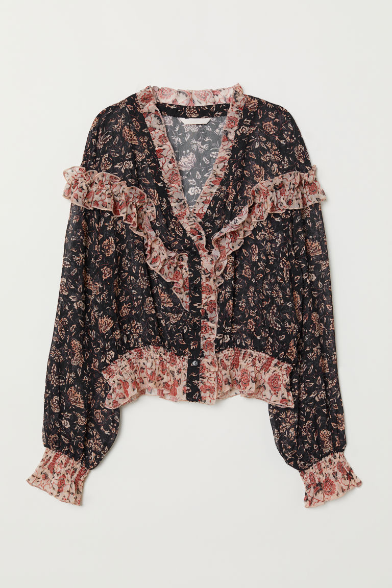 V-neck Ruffled Blouse - Black/patterned - Ladies | H&M US