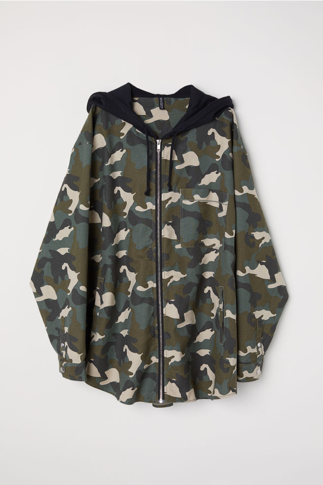 5f2dfd7fbf653 H&M+ Patterned Hooded Jacket - Khaki green/patterned - Ladies | H&M ...