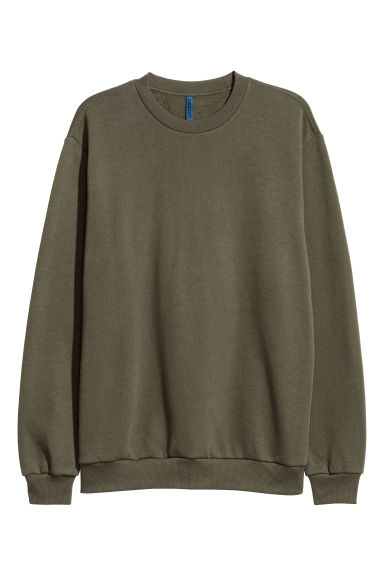 Oversized sweatshirt - Dark khaki green - Men | H&M
