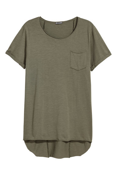 Long T-shirt - Khaki green -  | H&M