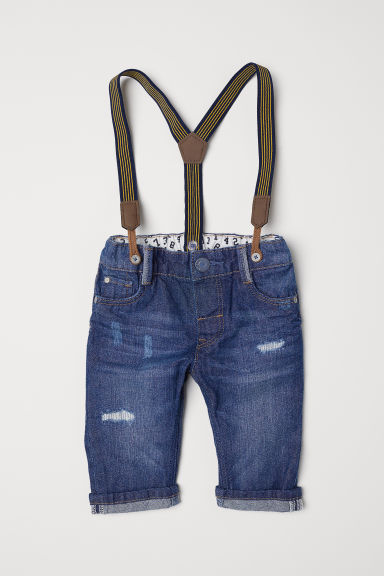 Jeans with braces - Denim blue - Kids | H&M CN