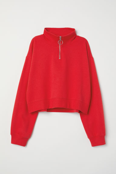 Stand-up collar sweatshirt - Red -  | H&M