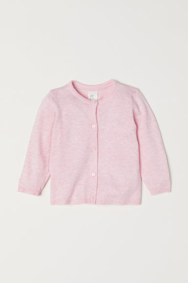 Fine-knit cardigan - Light pink marl - Kids | H&M
