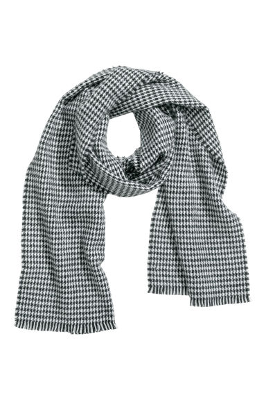 Dogtooth-patterned scarf - Black/White -  | H&M
