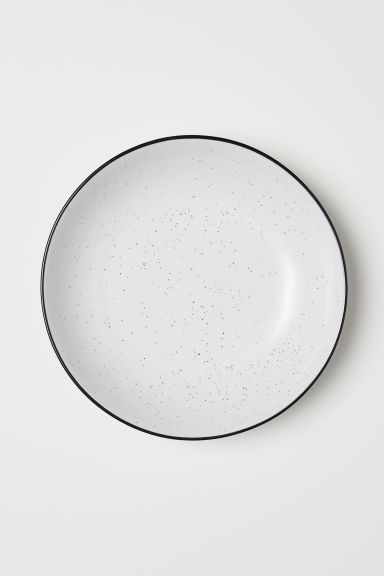 Deep Stoneware Plate - White/speckled - Home All | H&M CA