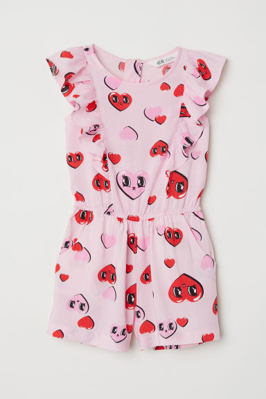 Patterned playsuit - Pink/Hearts - Kids | H&M