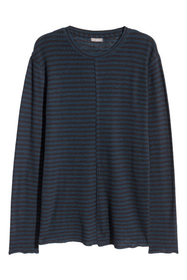 Long-sleeved top - Blue/Black striped - Men | H&M CN
