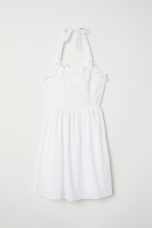 Embroidered halterneck dress