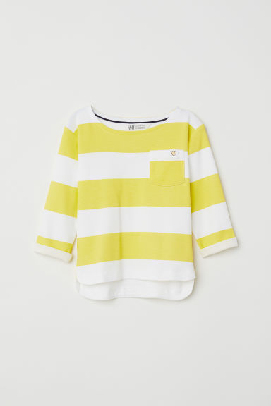 Striped jersey top - Yellow/White striped -  | H&M CN