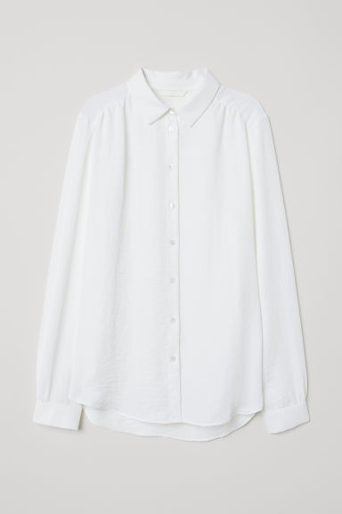 Long-sleeved blouse - White - Ladies | H&M CN