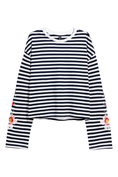 Jersey top with embroidery - Dark blue/Striped - Ladies | H&M