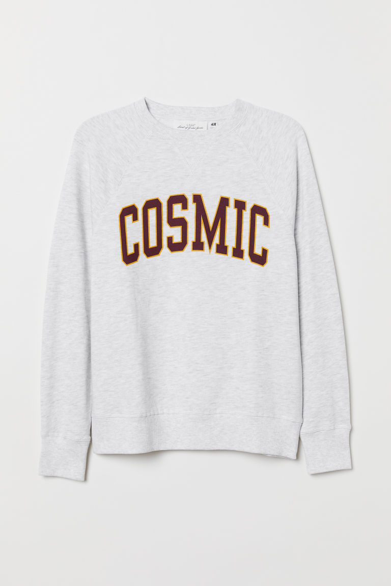 Sweatshirt with a motif - Light grey marl/Cosmic - Ladies | H&M CN