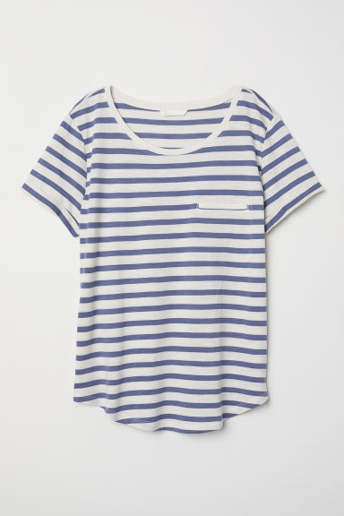 Slub jersey T-shirt - Natural white/Blue striped - Ladies | H&M GB