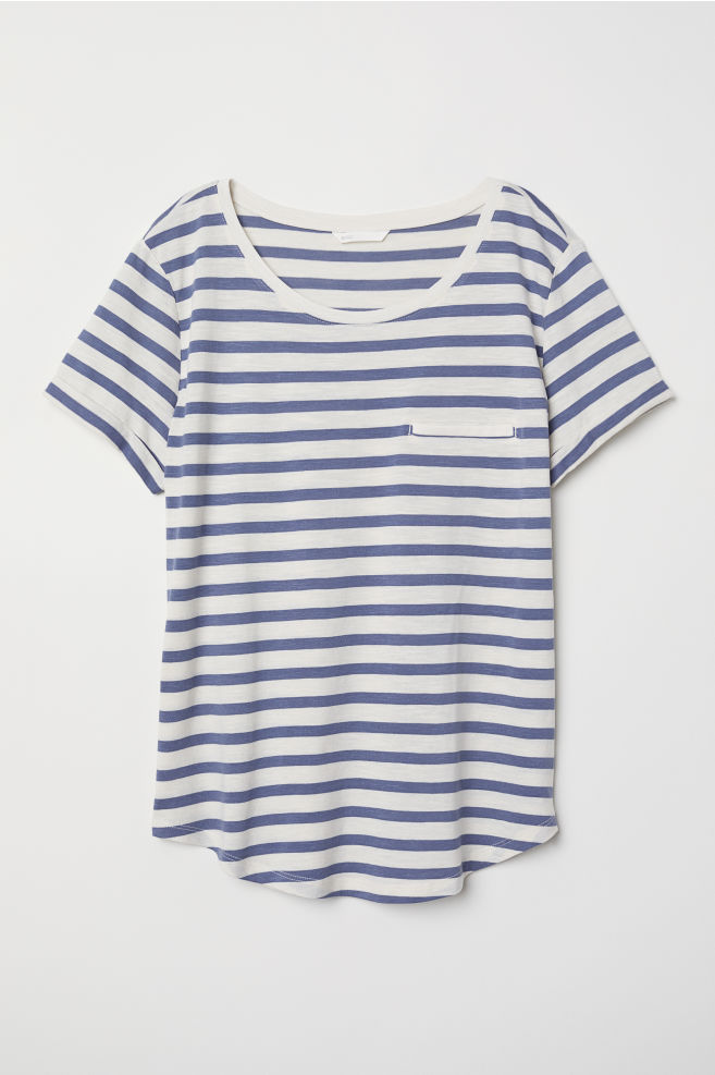 4a4913a026073 Slub Jersey T-shirt - Natural white blue striped - Ladies