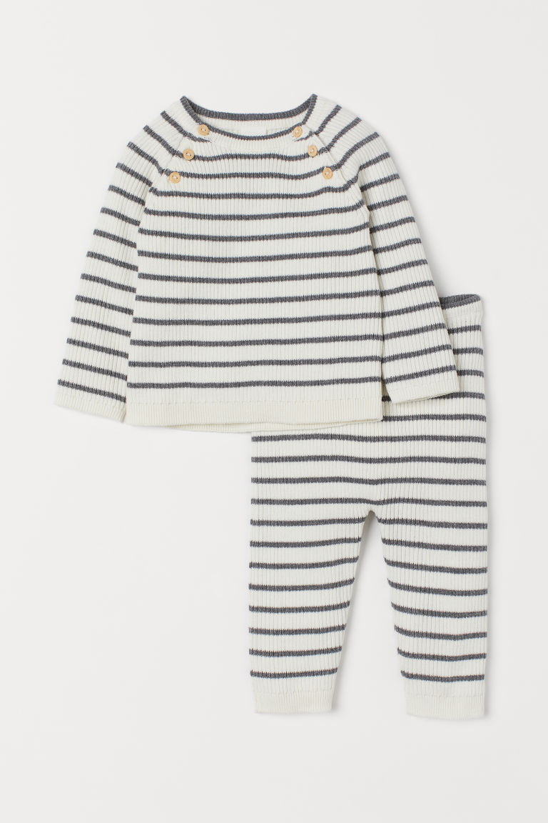 Cotton jumper and trousers - White/Grey striped -  | H&M