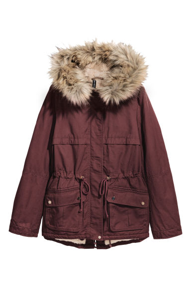 Pile-lined parka - Dark red -  | H&M CN