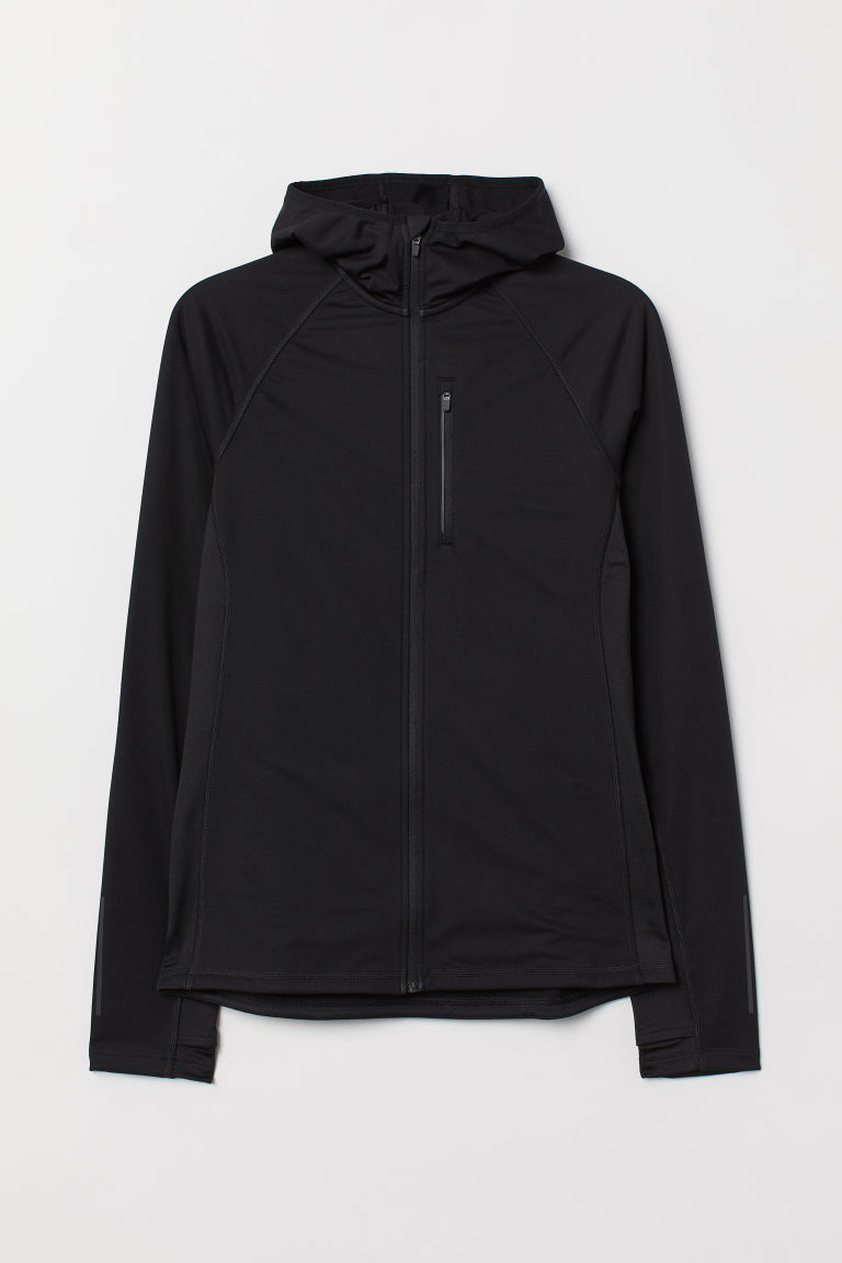 Hooded running jacket - Black -  | H&M CN