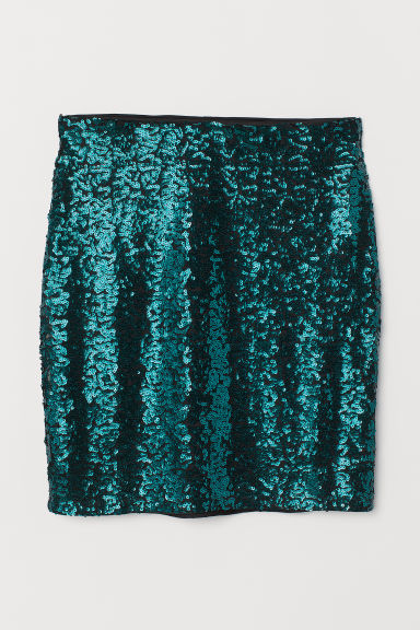 Glittery skirt - Emerald green -  | H&M CN
