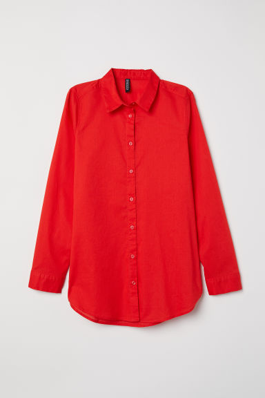 Cotton shirt - Bright red -  | H&M CN