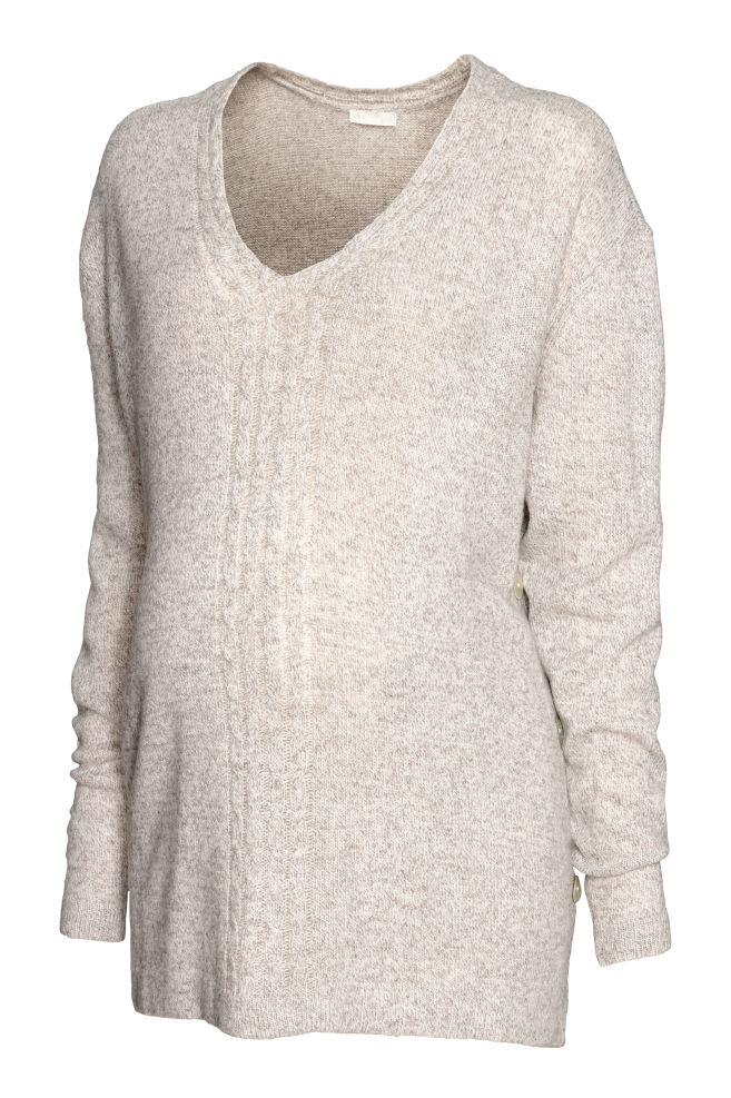 a713838a3f MAMA Knit Sweater - Light beige melange - Ladies