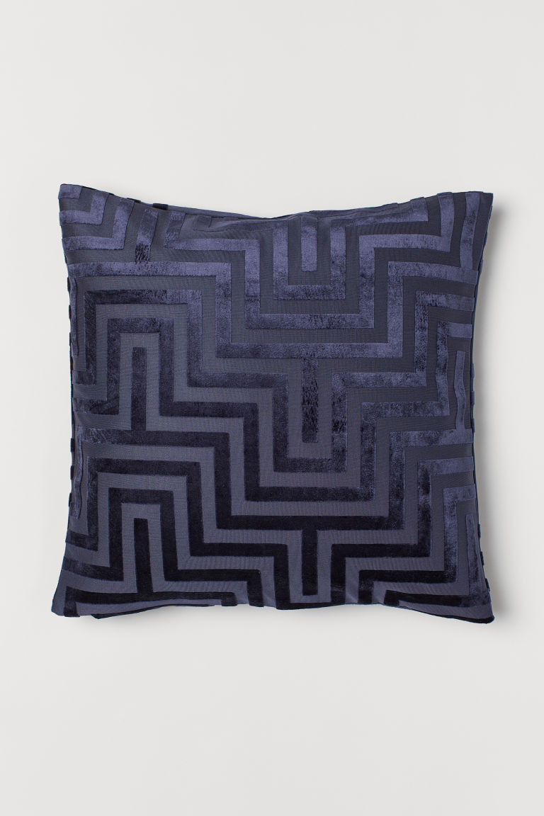 Velvet Cushion Cover - Midnight blue/patterned - Home All | H&M US
