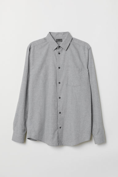 Flannel shirt Regular fit - Grey marl - Men | H&M