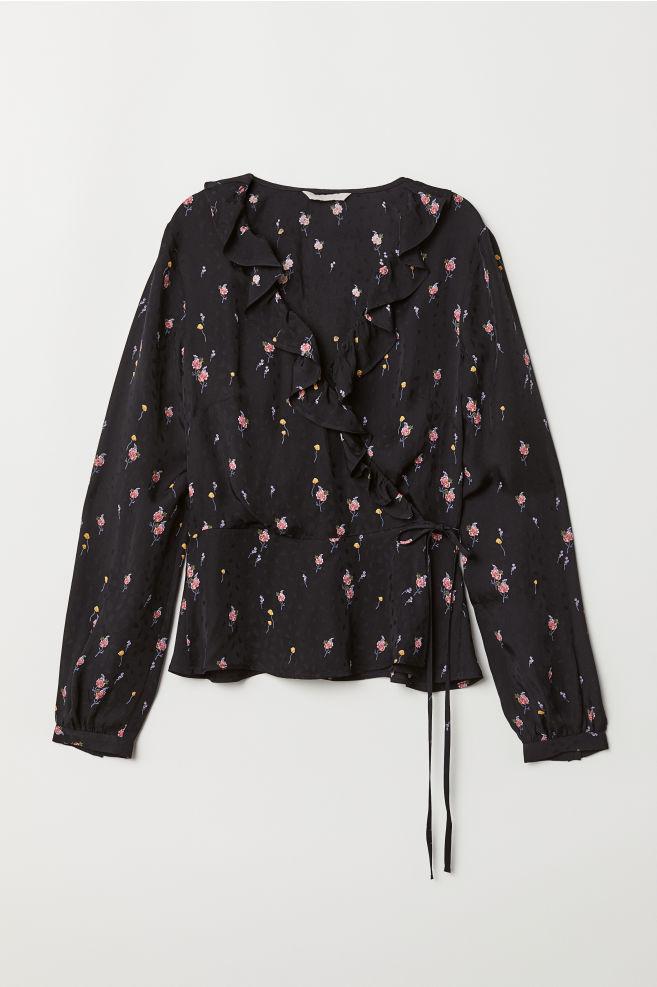 d9582873a41131 Wrapover Blouse with Flounces - Black/floral - Ladies | H&M ...