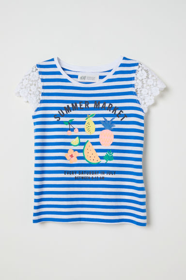 Top with lace - Blue/White striped - Kids | H&M