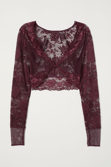 Kanten top - Paars - DAMES | H&M BE
