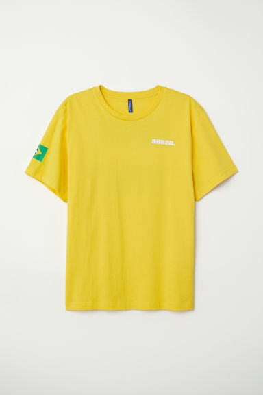 Printed T-shirt - Yellow/Brazil - Men | H&M
