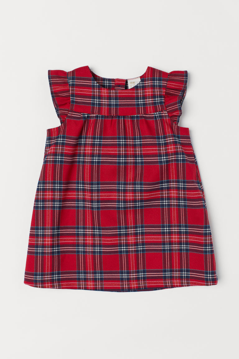 Sleeveless dress - Red/Checked - Kids | H&M CN