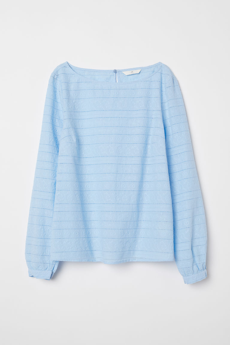 Bestickte Bluse - Hellblau - Ladies | H&M AT